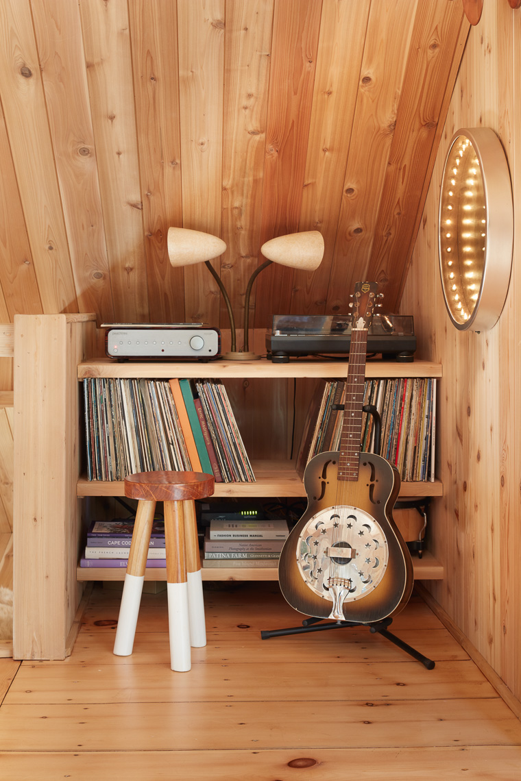 Detail view of guitar and record player