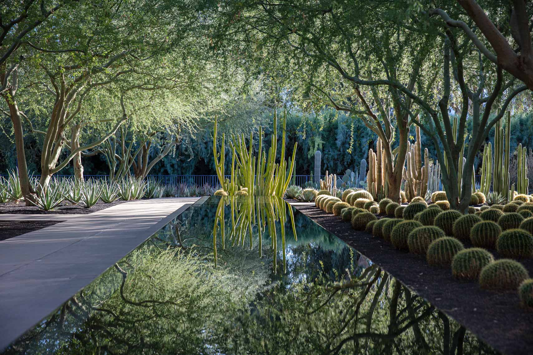 Reflective pool with impressionist painting inspired gardens and landscape