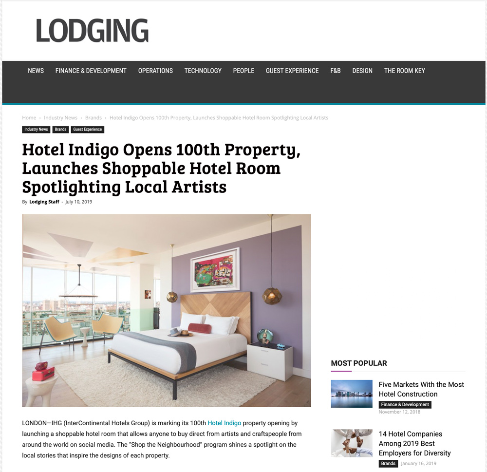 Hotel Indigo Opens 100th Property, Launches Shoppable Hotel Room Spotlighting Local Artists