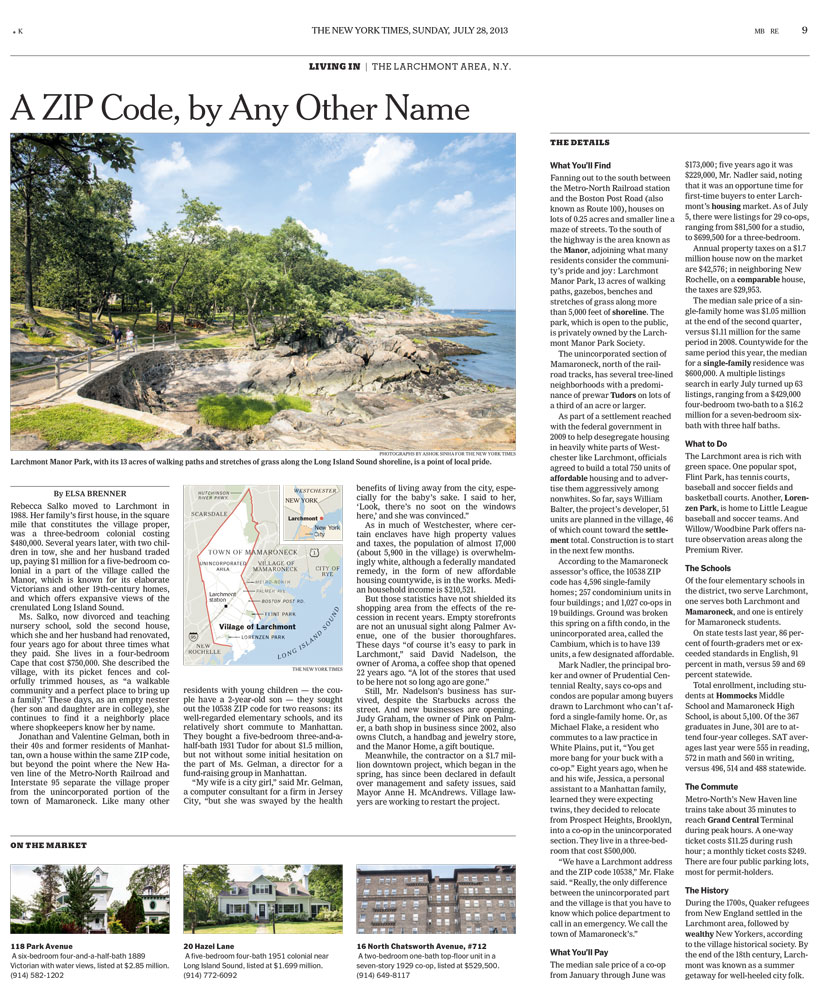 The New York Times Living In The Larchmont Area New York A Zip Code, by Any Other Name