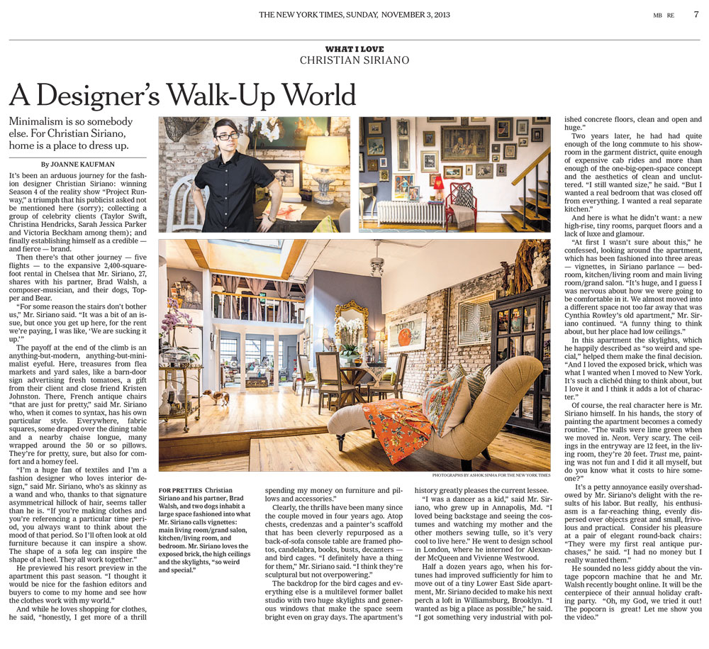 The New York Times What I Love Christian Siriano A Designer