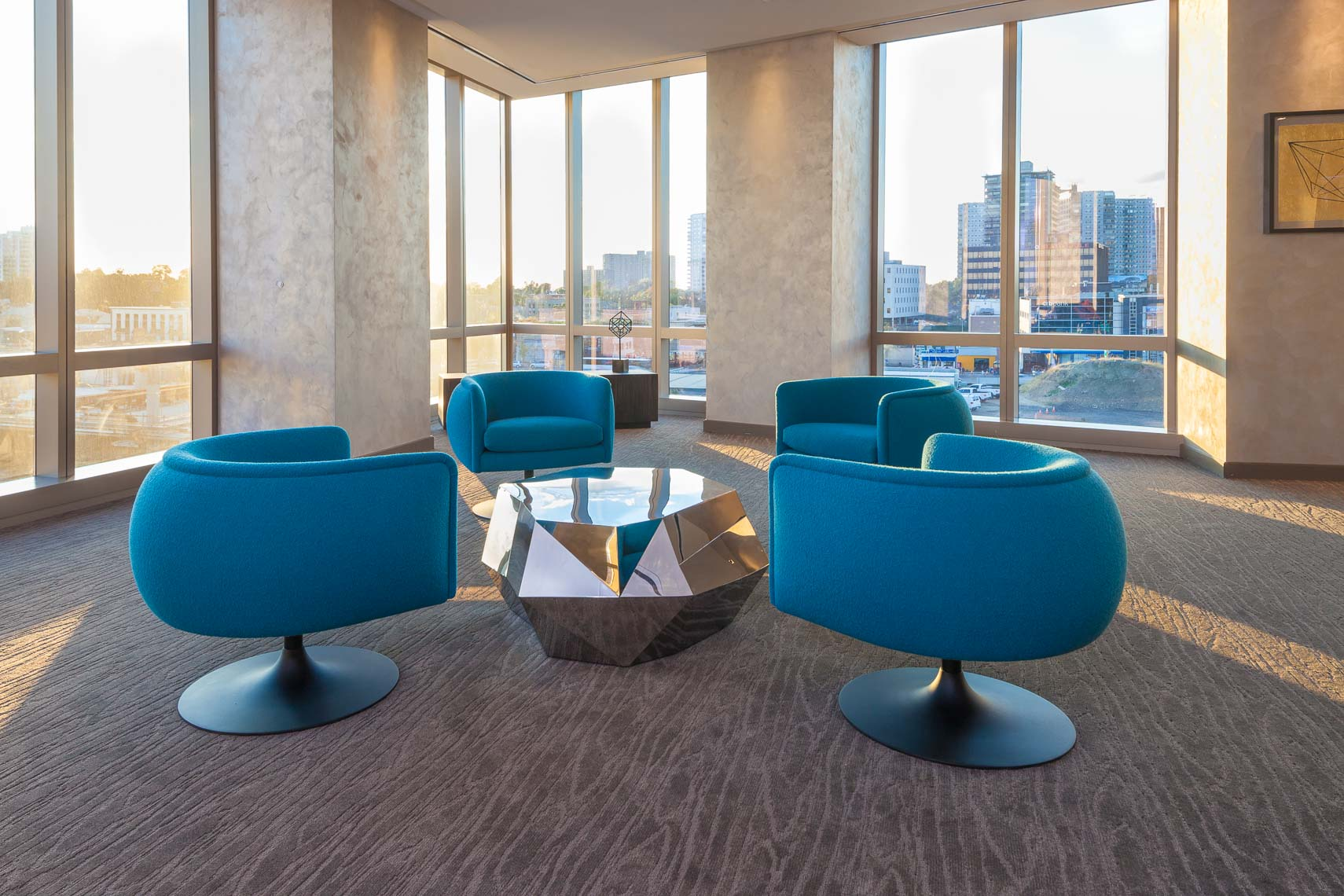 Round blue lounge chairs