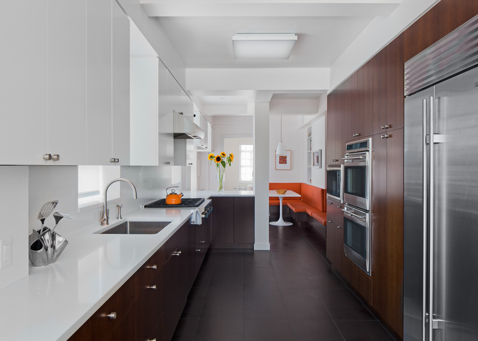 Wide view of a renovated kitchen in an Upper West Side Apartment in New York City
