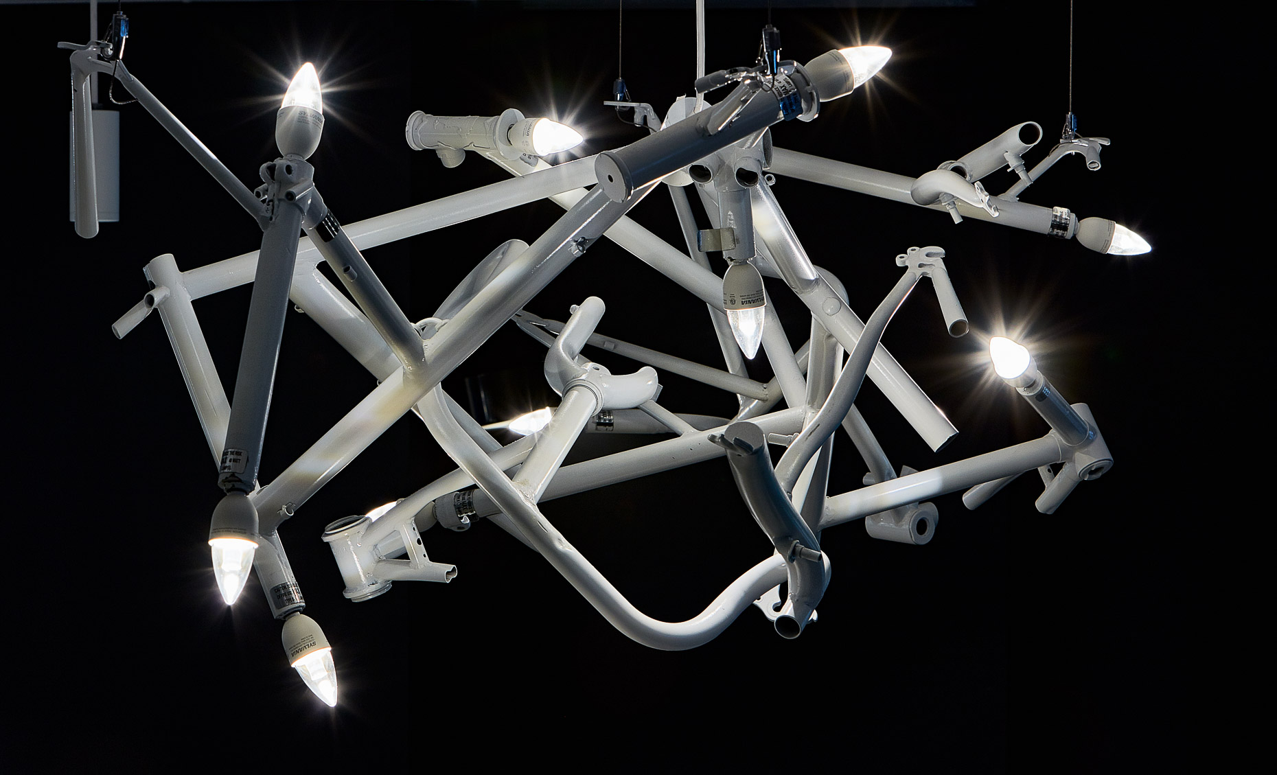 Custom light fixture made of bicycle parts