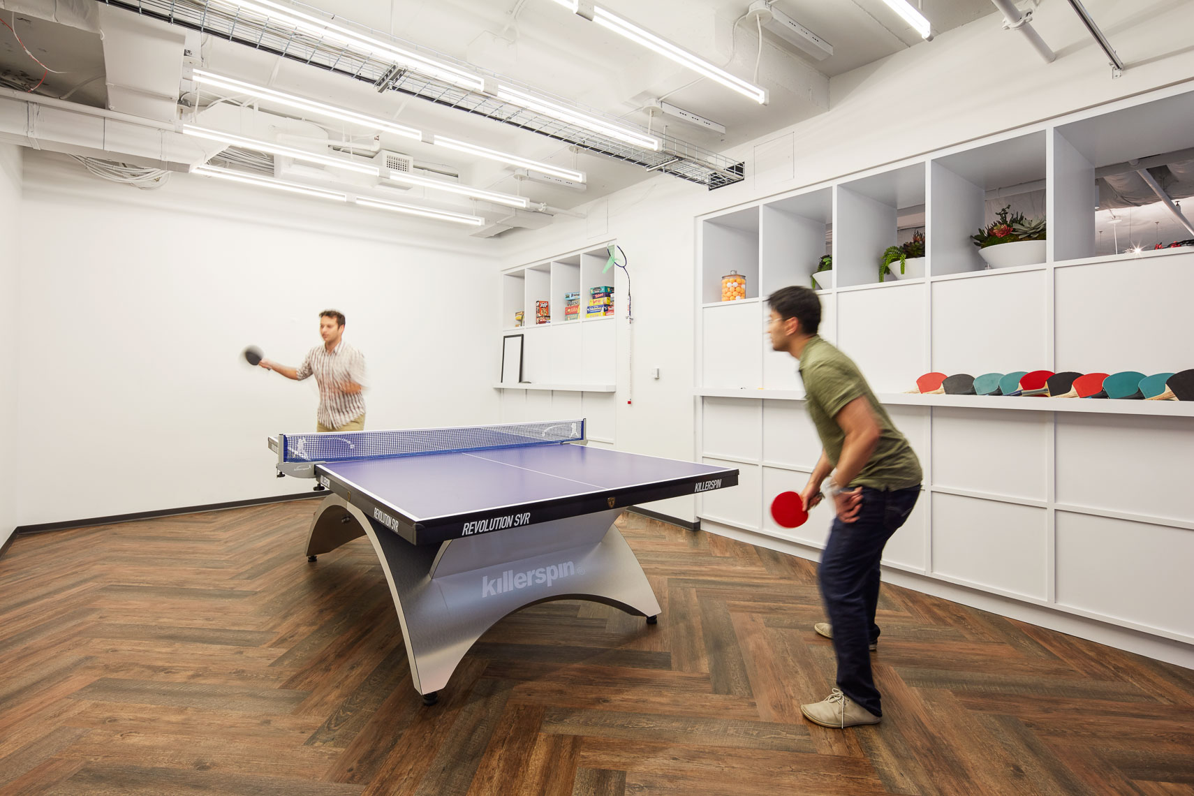 Ping pong table inside modern office interiors